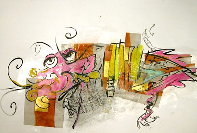 Pink DragonI, 24X36 inches, Mixed media on paper, 2010