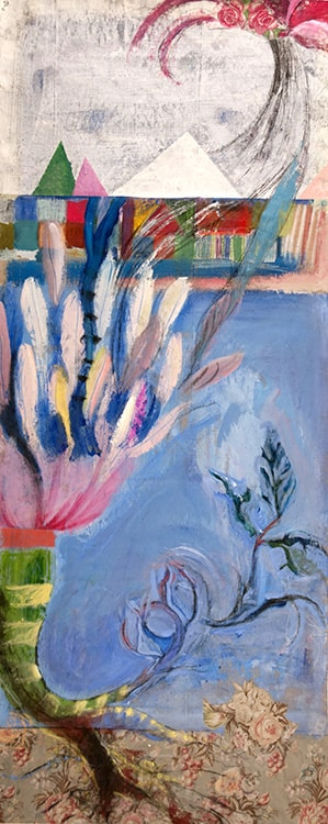 Arrival of Ms. Spring, 64 in X 26 in, Mixed media on linen-min