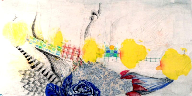 Blue Rose, 30 X 56 inches, Mixed media on rice paper-min