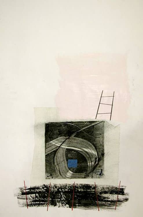 Blue Square and Ladder, 36X24 inches, Mixed media on paper, 2010-min