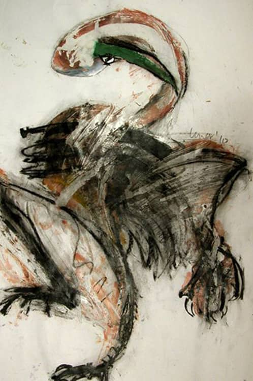 Crane Dance, 36X24 inches, Mixed media on paper, 2010-min