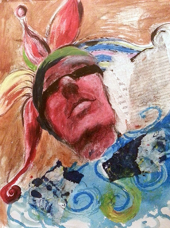 Eyes Shut, 13 x 10 in, Mixed media on paper, 2014.min-min