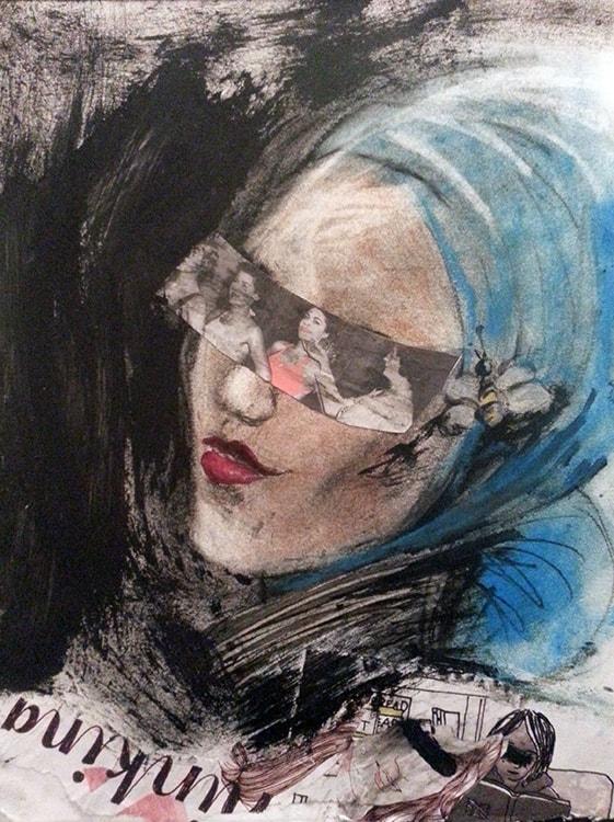 Eyes Shut III, 13 x 10 in, Mixed media on papaer, 2014.min-min