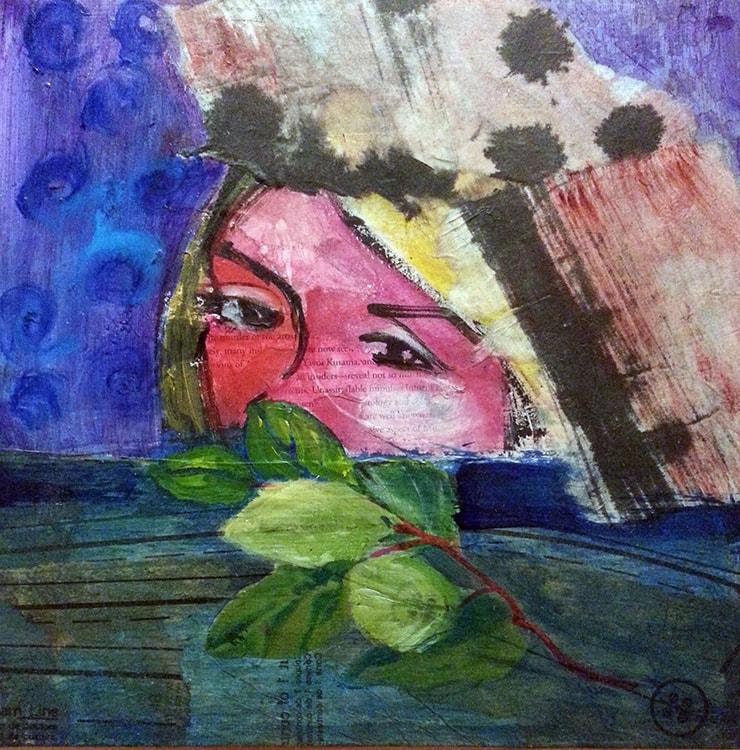 Fallen Leaves, 10 x 10 in, Mixed media on board, 2014.min-min