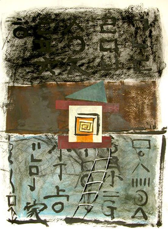 Green Triangle with Ladder, 22X30 inches, Mixed media on paper, 2010-min