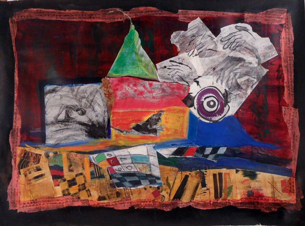 Paper, Rock, Scissors, 60X40 inches, Mixed media on paper.min-min