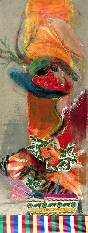 Red Hot Chilli Peper, 64 in X 26 in, Mixed media on linen-min