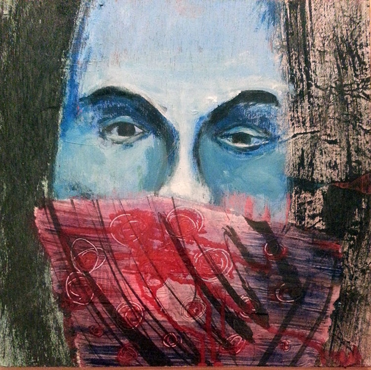 Red Scarf, 12 in X 12 in, Mixed media on board, 2014.min-min