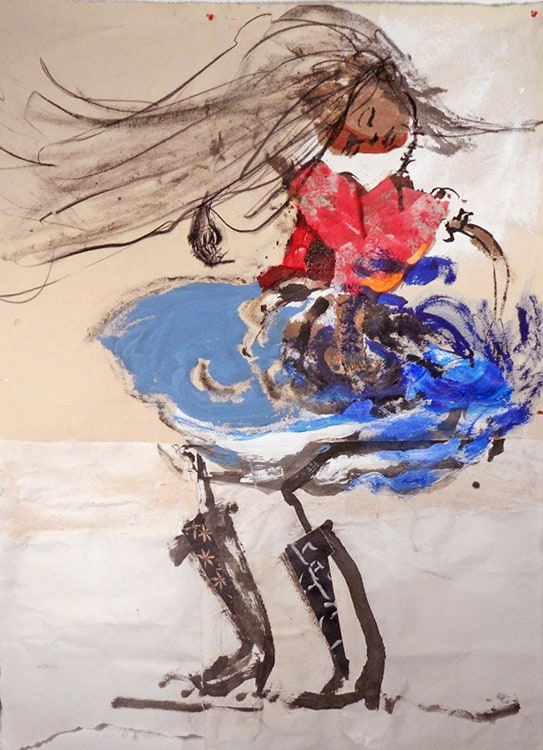 Spanish Dancing Girl, 70X48 inches, Mixed media on canvas.min-min