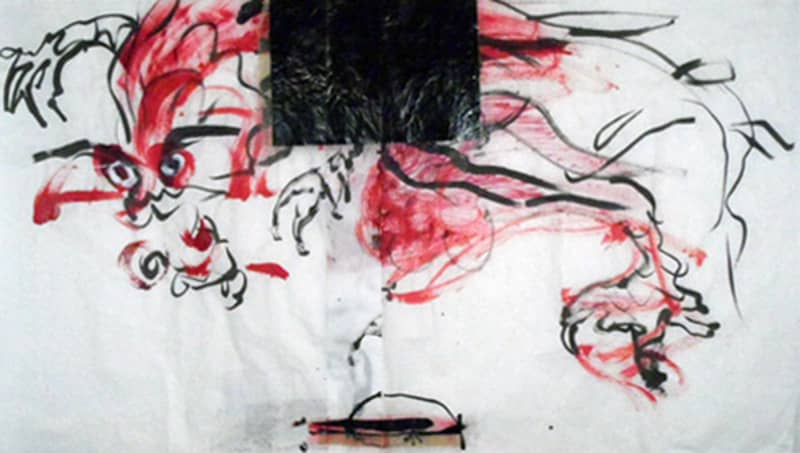red_dragon_27x50_inches_mixed_media_on_rice_paper_2011-min