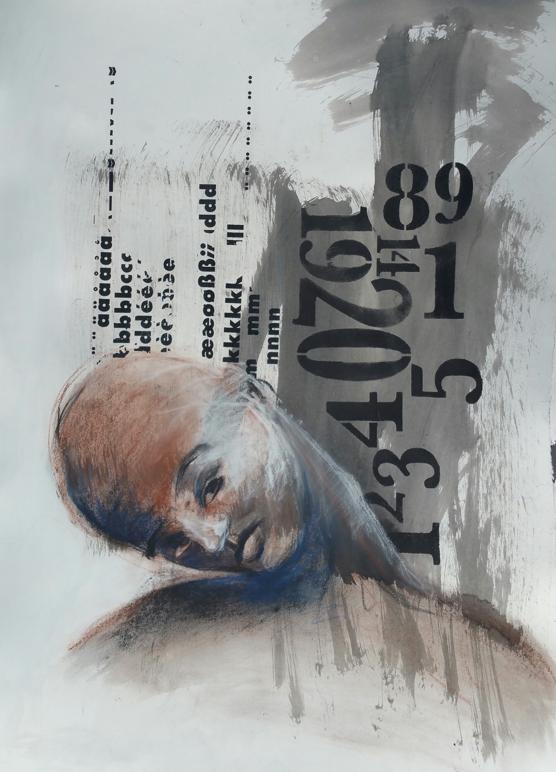 10. Una Kim, December 1979, 30 inches X 22 inches, Ink and charcoal on paper, 2015