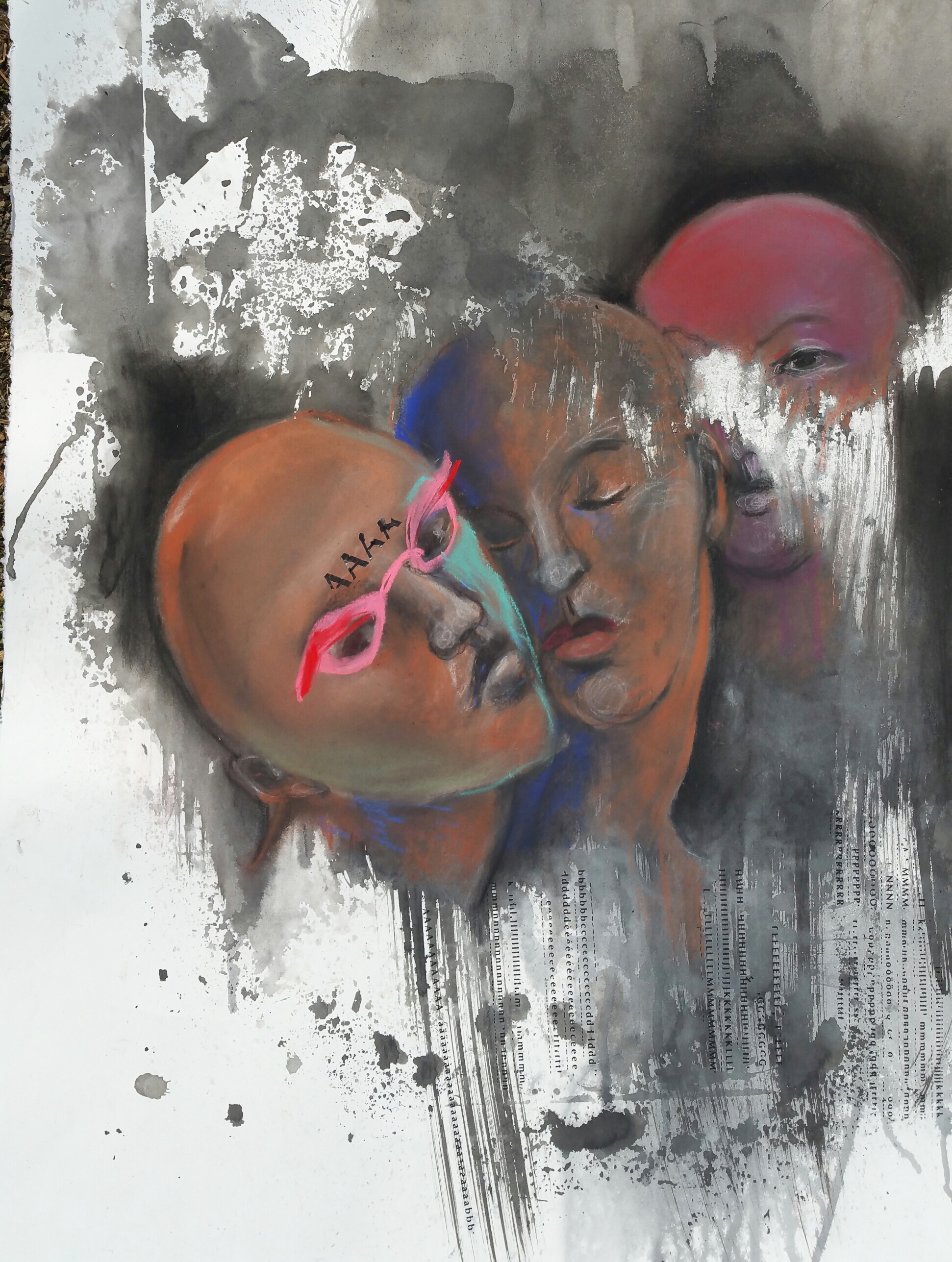 5. Una Kim, Three of Us, 30 inches X 22 inches, Ink and charcoal on paper, 2015