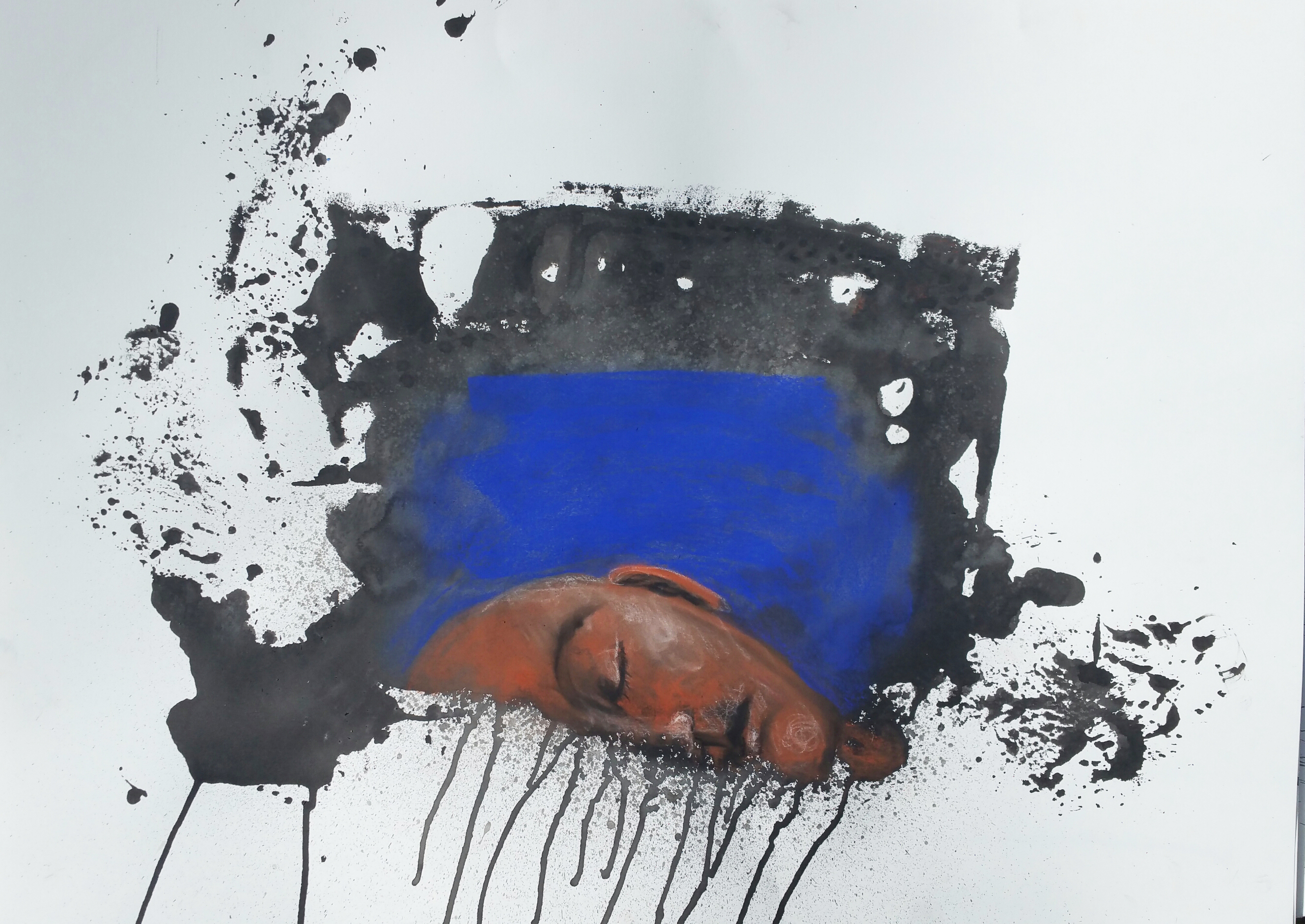 6. Una Kim, Silence in Blue, 22 inches X 30 inches, Ink and charcoal on paper, 2015